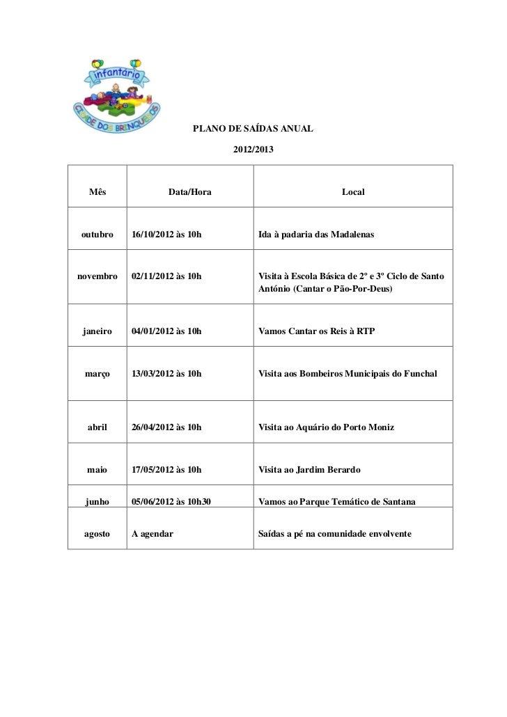 PLANO DE SAÍDAS ANUAL                                 2012/2013  Mês               Data/Hora                              ...