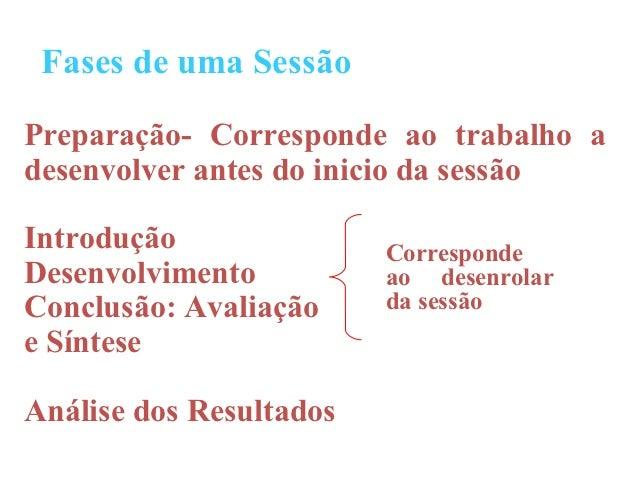 Fases de uma SessãoPreparação- Corresponde ao trabalho adesenvolver antes do inicio da sessãoIntrodução               Corr...