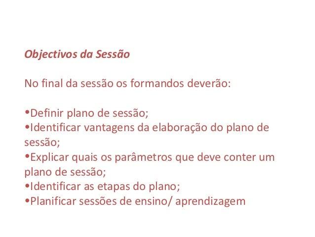 Plano de sessão Slide 2