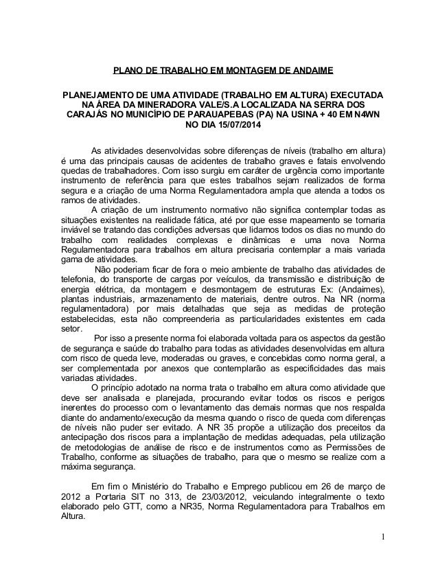 PLANO DE TRABALHO EM MONTAGEM DE ANDAIME PLANEJAMENTO DE UMA ATIVIDADE (TRABALHO EM ALTURA) EXECUTADA NA ÁREA DA MINERADOR...