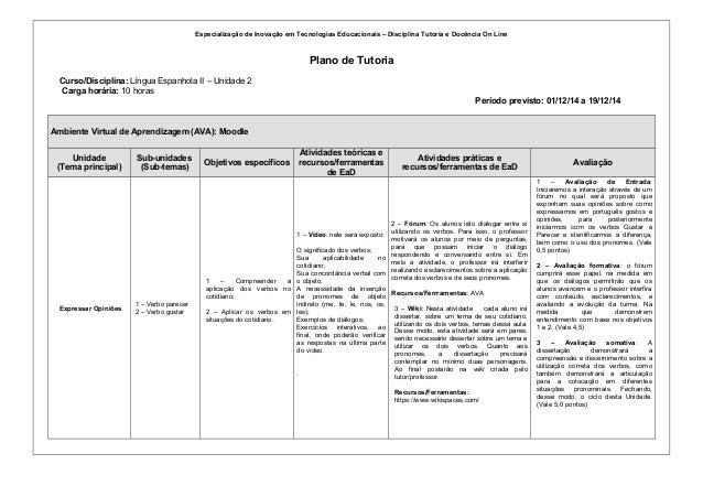 Especialização de Inovação em Tecnologias Educacionais – Disciplina Tutoria e Docência On Line  Plano de Tutoria  Curso/Di...