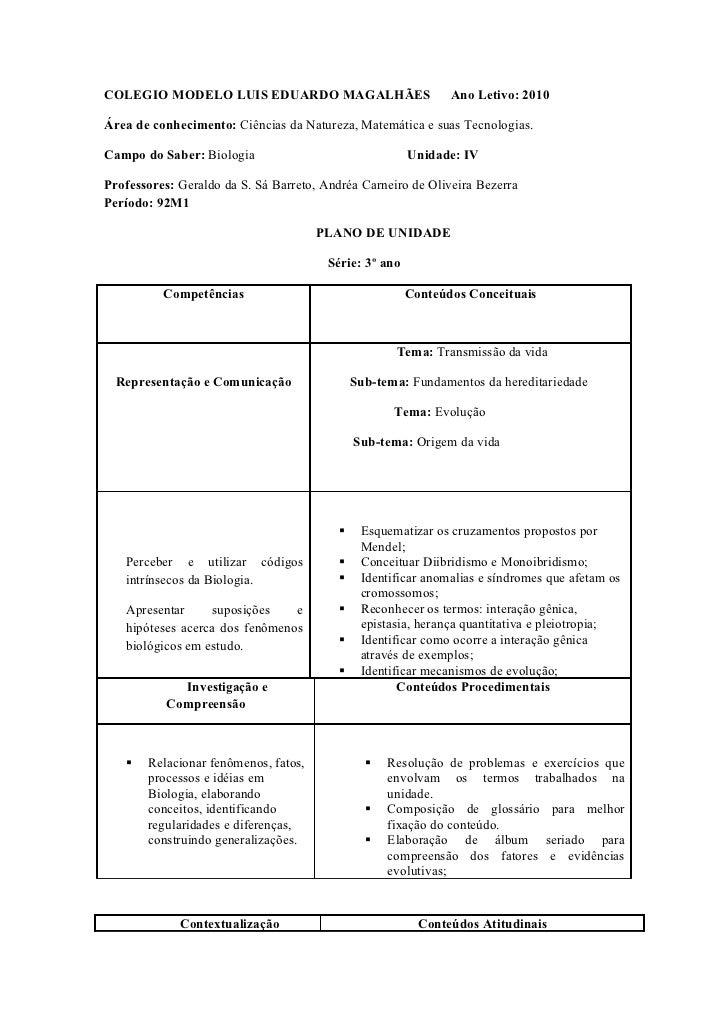 COLEGIO MODELO LUIS EDUARDO MAGALHÃES                          Ano Letivo: 2010Área de conhecimento: Ciências da Natureza,...