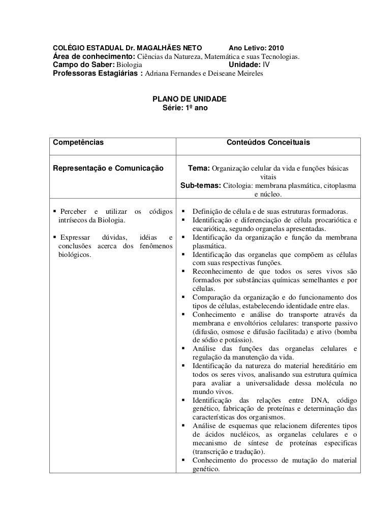 COLÉGIO ESTADUAL Dr. MAGALHÃES NETO                       Ano Letivo: 2010Área de conhecimento: Ciências da Natureza, Mate...