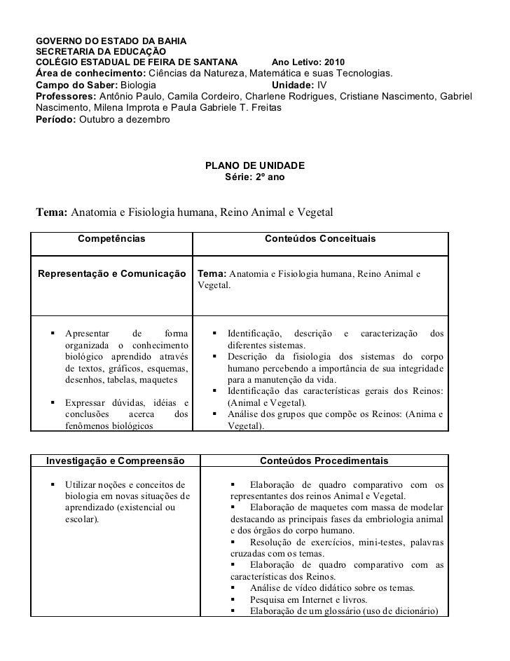 GOVERNO DO ESTADO DA BAHIASECRETARIA DA EDUCAÇÃOCOLÉGIO ESTADUAL DE FEIRA DE SANTANA                     Ano Letivo: 2010Á...