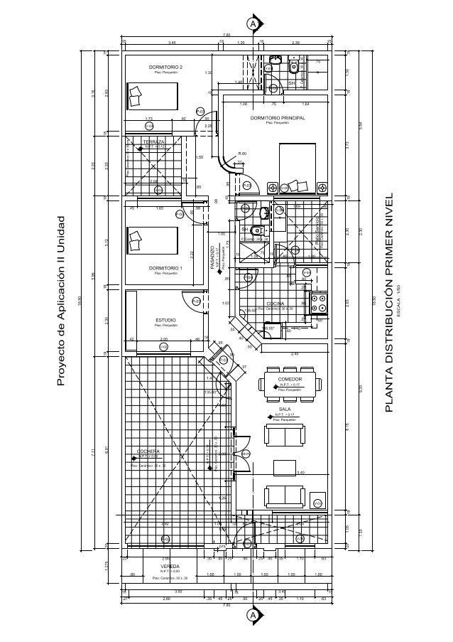 Plano de vivienda unifamiliar proy aplic 2 2014 0 for Planos para viviendas