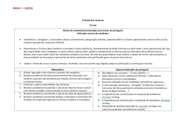 O Diabo dos números 5º ano Metas de matemática/articulação com metas de português Utilização correta de vocábulos: «Identi...