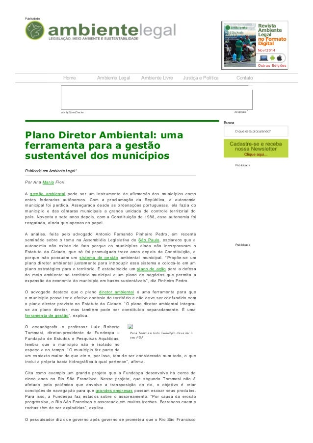 04/06/2015 PlanoDiretorAmbiental:umaferramentaparaagestãosustentáveldosmunicípios«PortalAmbienteLegal http:/...