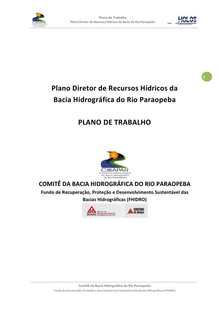 Plano de Trabalho                  Plano Diretor de Recursos Hídricos da Bacia do Rio Paraopeba                           ...