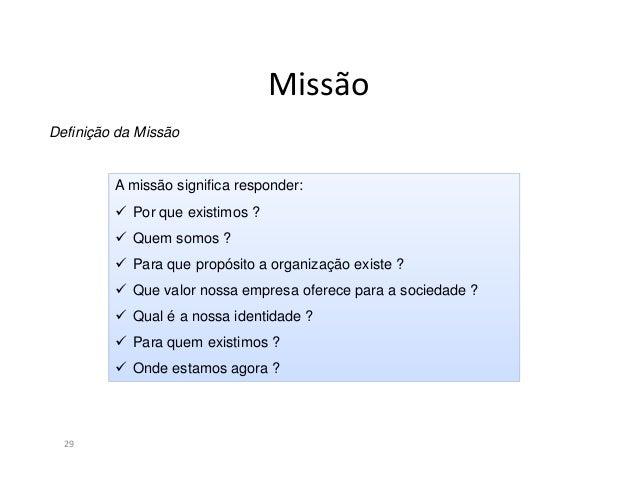 """Missão30Exemplos de Missão:""""Preservar e melhorar a vida das pessoas"""" (Merck)""""Servir alimentos de qualidade, com rapidez e ..."""