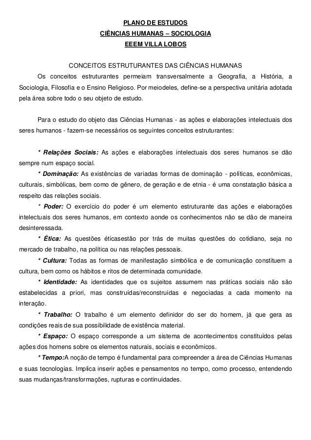 PLANO DE ESTUDOS                             CIÊNCIAS HUMANAS – SOCIOLOGIA                                      EEEM VILLA...