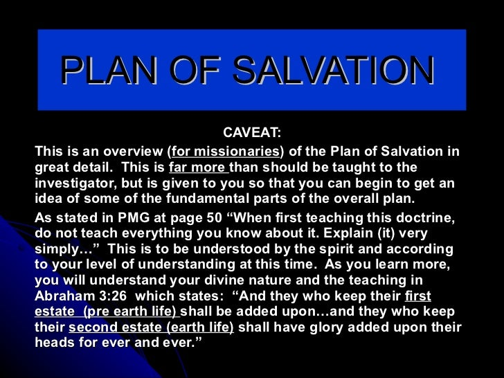 PLAN OF SALVATION  CAVEAT: This is an overview ( for missionaries ) of the Plan of Salvation in great detail.  This is  fa...