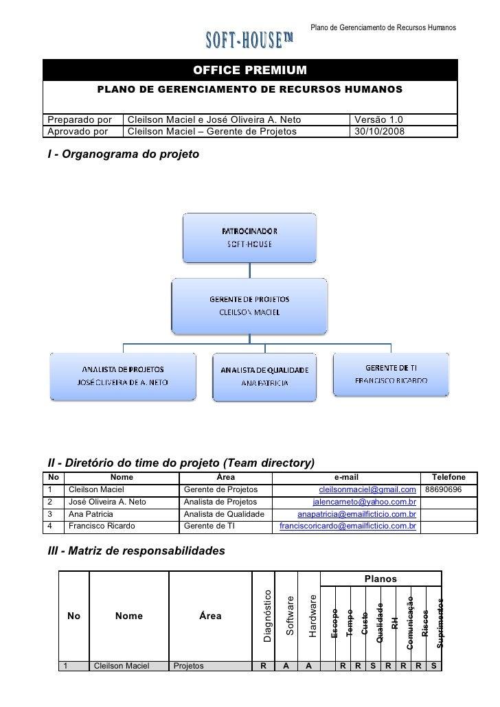 Plano de Gerenciamento de Recursos Humanos                                            OFFICE PREMIUM                 PLANO...