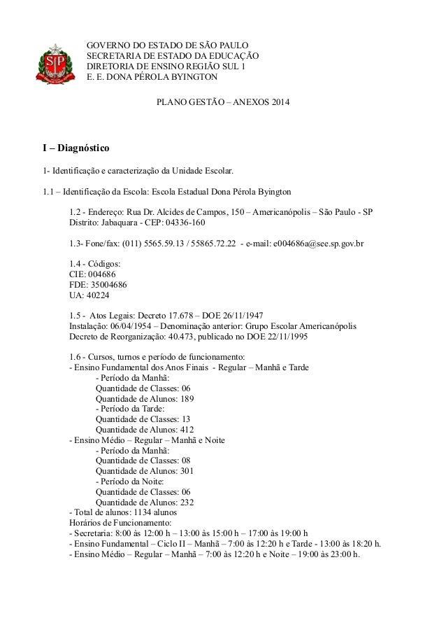 GOVERNO DO ESTADO DE SÃO PAULO SECRETARIA DE ESTADO DA EDUCAÇÃO DIRETORIA DE ENSINO REGIÃO SUL 1 E. E. DONA PÉROLA BYINGTO...