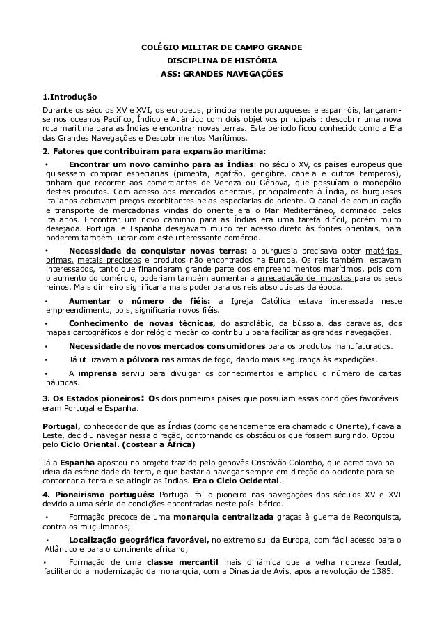 COLÉGIO MILITAR DE CAMPO GRANDE                                DISCIPLINA DE HISTÓRIA                               ASS: G...