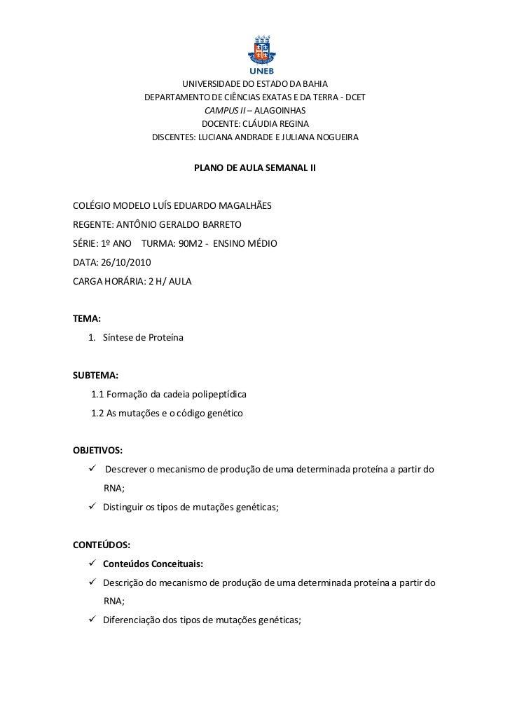 UNIVERSIDADE DO ESTADO DA BAHIA               DEPARTAMENTO DE CIÊNCIAS EXATAS E DA TERRA - DCET                           ...