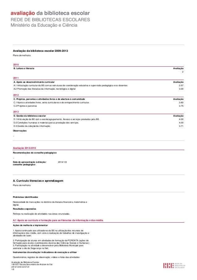 Avaliação da biblioteca escolar 2009-2013 Plano de melhoria  2010 B. Leitura e literacia  Avaliação 2  2011 A. Apoio ao de...