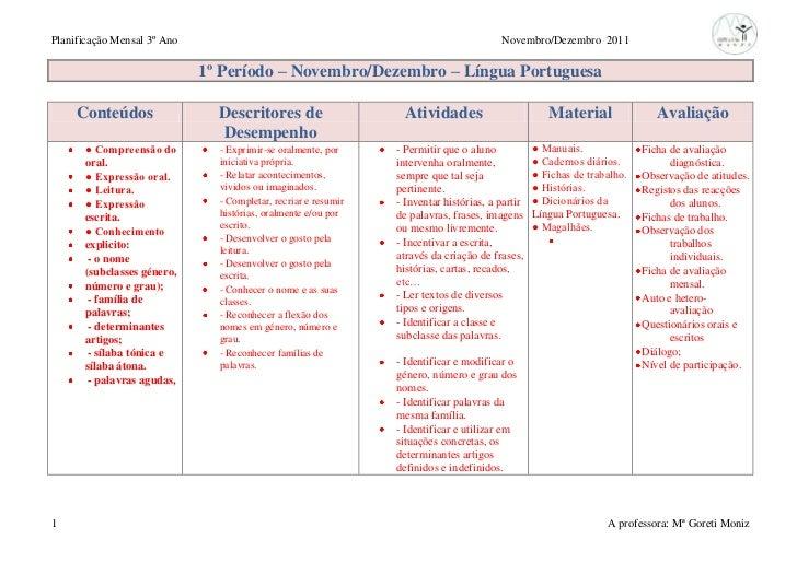 Planificação Mensal 3º Ano                                                              Novembro/Dezembro 2011            ...