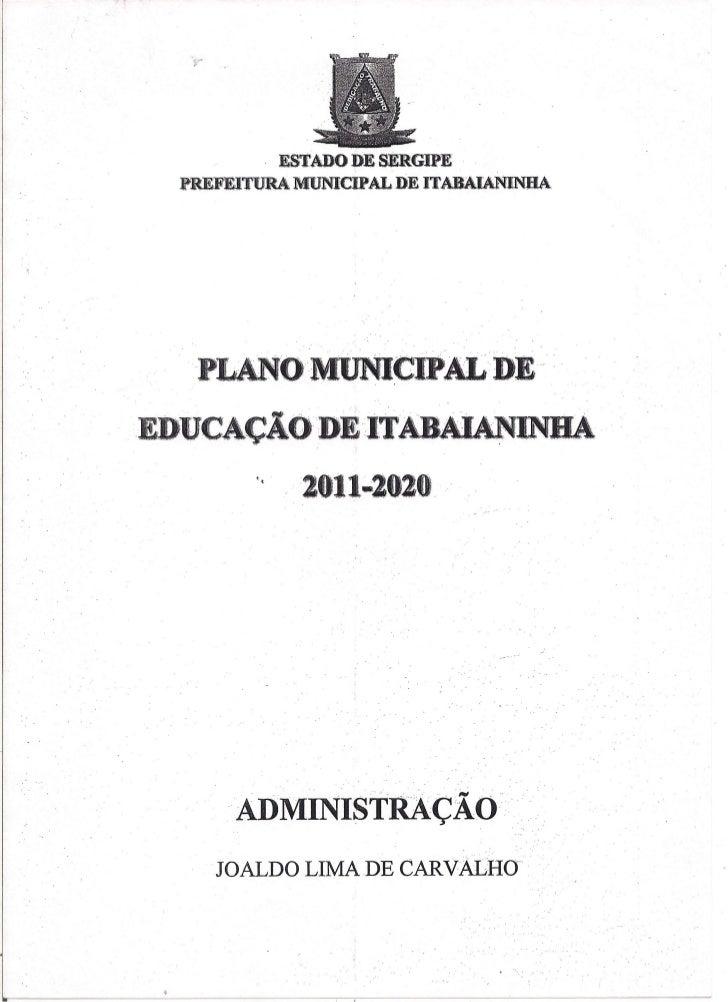 Plano municipal de educação de inn se 2011 2020