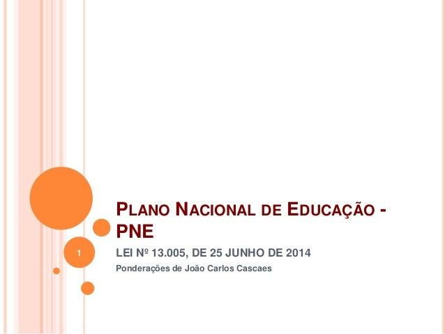 PLANO NACIONAL DE EDUCAÇÃO - PNE LEI Nº 13.005, DE 25 JUNHO DE 2014 Ponderações de João Carlos Cascaes 1
