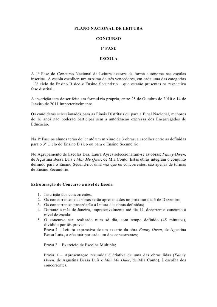 PLANO NACIONAL DE LEITURA                                     CONCURSO                                       1ª FASE      ...