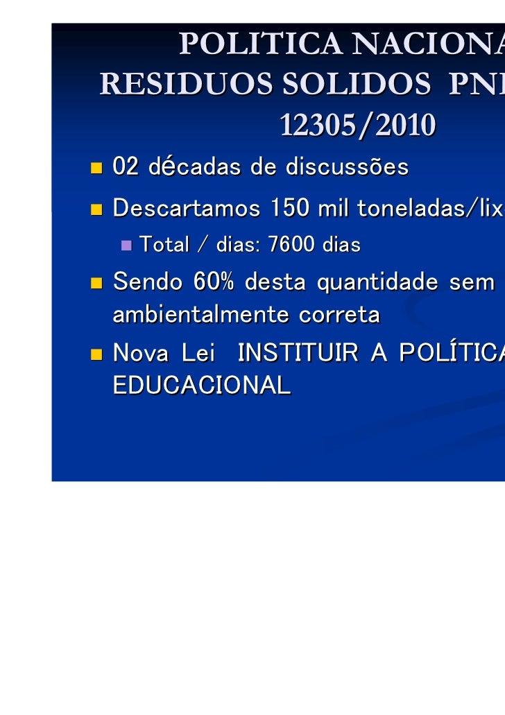 POLITICA NACIONALRESIDUOS SOLIDOS PNRS- LEI         12305/201002 décadas de discussõesDescartamos 150 mil toneladas/lixo/d...