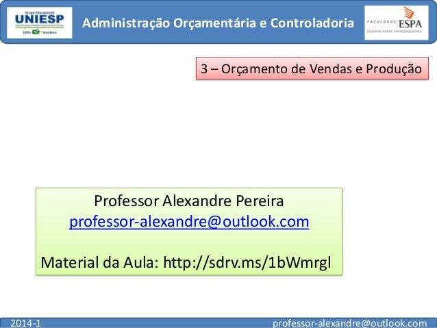 Administração Orçamentária e Controladoria 3 – Orçamento de Vendas e Produção  Professor Alexandre Pereira professor-alexa...