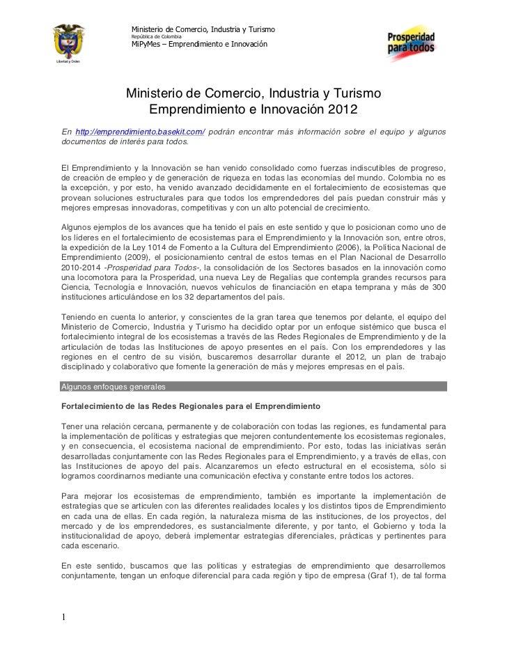 Ministerio de Comercio, Industria y Turismo                   República de Colombia                   MiPyMes – Emprendimi...