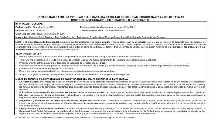 UNIVERSIDAD CATÓLICA POPULAR DEL RISARALDA FACULTAD DE CIENCIAS ECONOMICAS Y ADMINISTRATIVAS                              ...
