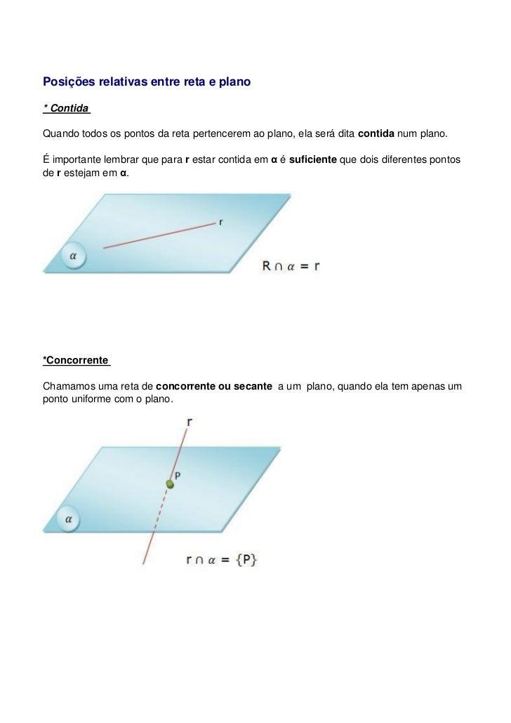 Posições relativas entre reta e plano* ContidaQuando todos os pontos da reta pertencerem ao plano, ela será dita contida n...
