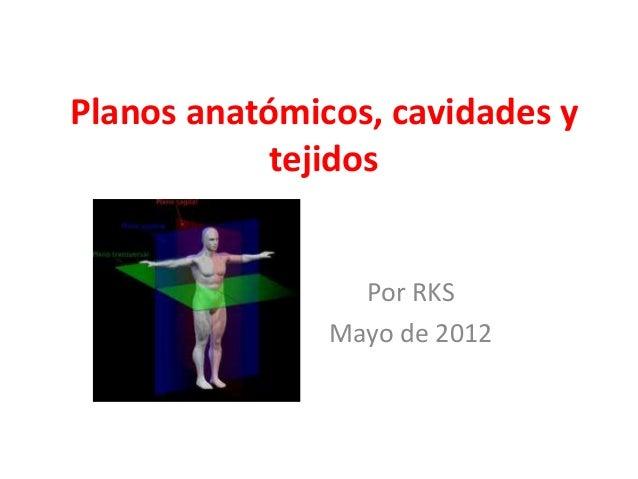 Planos anatómicos, cavidades y tejidos Por RKS Mayo de 2012