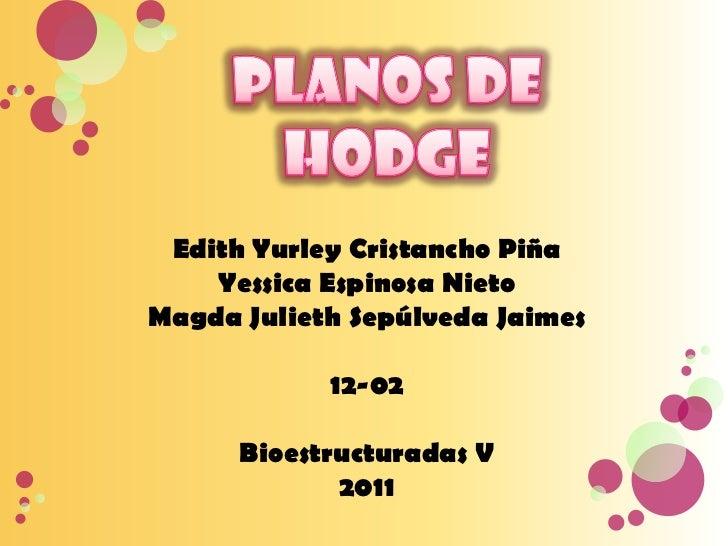 Planos de hodge<br />Edith Yurley Cristancho Piña<br />Yessica Espinosa Nieto<br />Magda Julieth Sepúlveda Jaimes<br />12-...