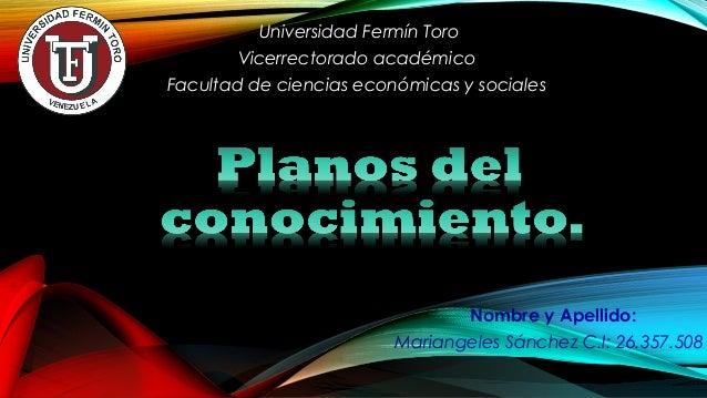 Nombre y Apellido: Mariangeles Sánchez C.I: 26.357.508 Universidad Fermín Toro Vicerrectorado académico Facultad de cienci...