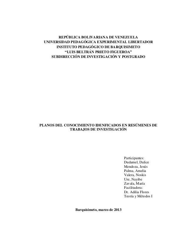 REPÚBLICA BOLIVARIANA DE VENEZUELA UNIVERSIDAD PEDAGÓGICA EXPERIMENTAL LIBERTADOR      INSTITUTO PEDAGÓGICO DE BARQUISIMET...