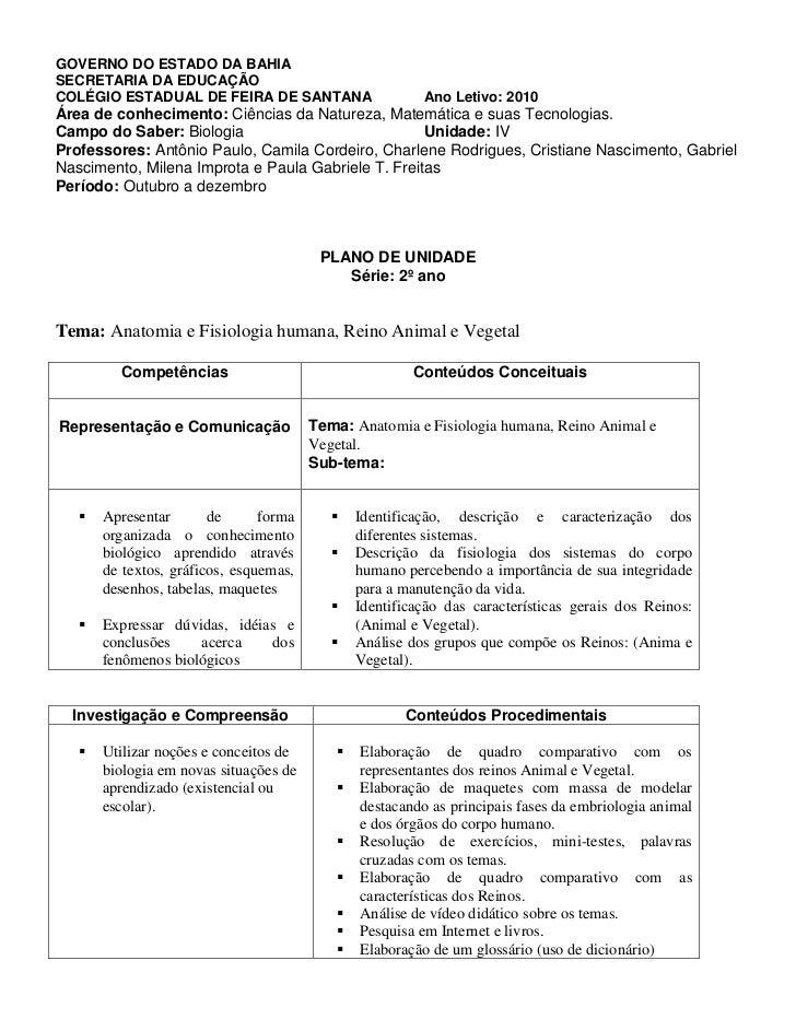 GOVERNO DO ESTADO DA BAHIASECRETARIA DA EDUCAÇÃOCOLÉGIO ESTADUAL DE FEIRA DE SANTANA                      Ano Letivo: 2010...
