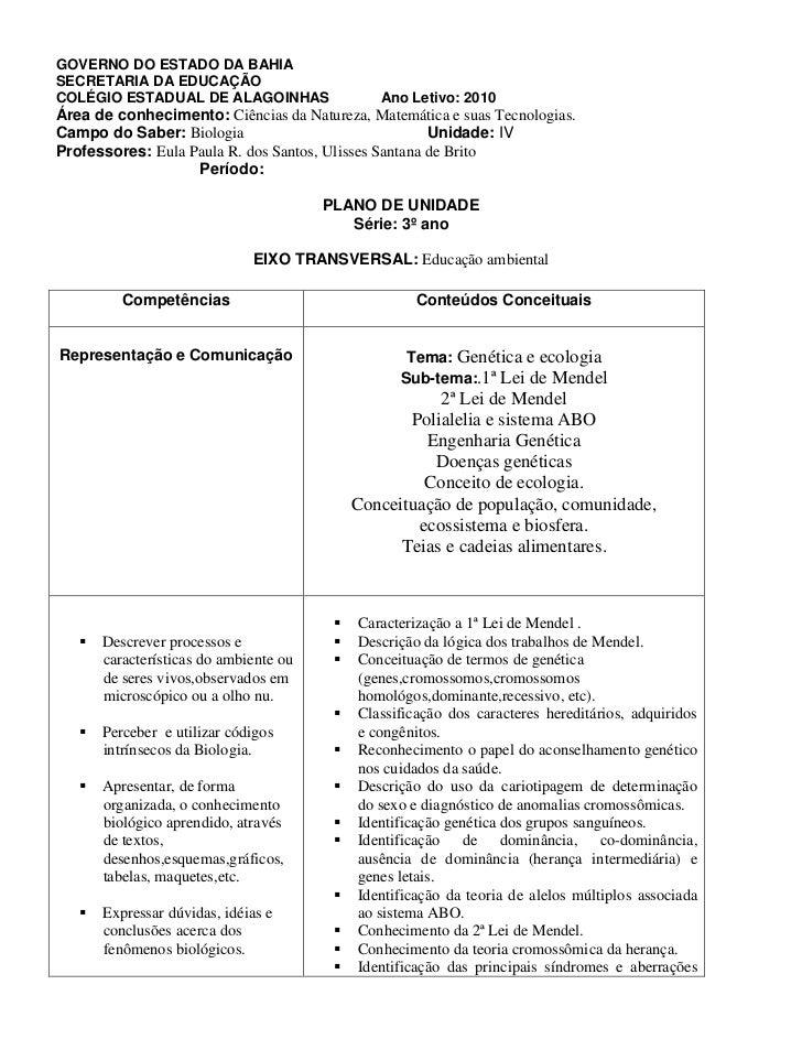 GOVERNO DO ESTADO DA BAHIASECRETARIA DA EDUCAÇÃOCOLÉGIO ESTADUAL DE ALAGOINHAS                Ano Letivo: 2010Área de conh...