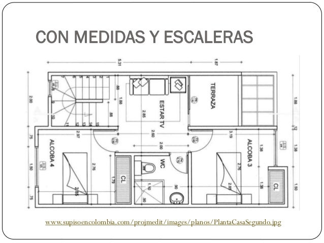 Planos de viviendas for Medidas de muebles en planta