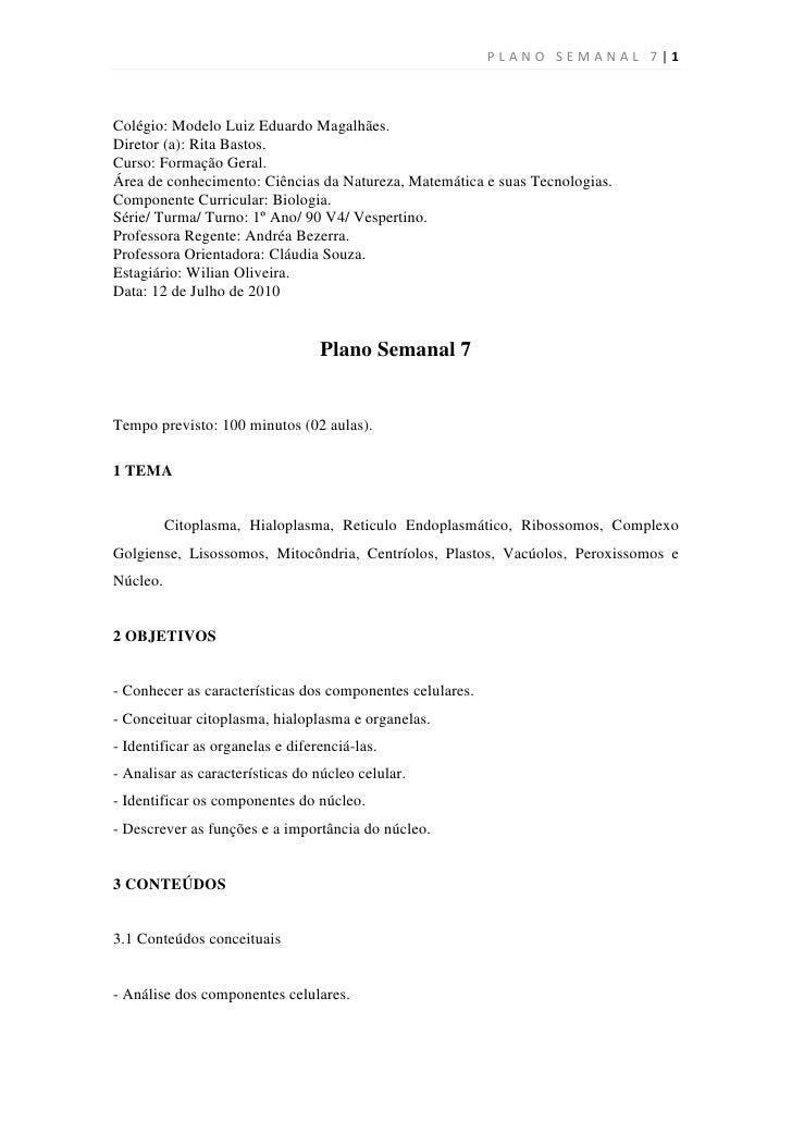 PLANO SEMANAL 7|1    Colégio: Modelo Luiz Eduardo Magalhães. Diretor (a): Rita Bastos. Curso: Formação Geral. Área de conh...