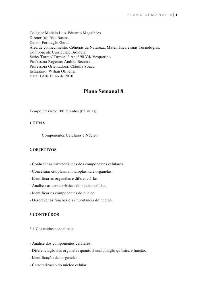PLANO SEMANAL 8|1    Colégio: Modelo Luiz Eduardo Magalhães. Diretor (a): Rita Bastos. Curso: Formação Geral. Área de conh...