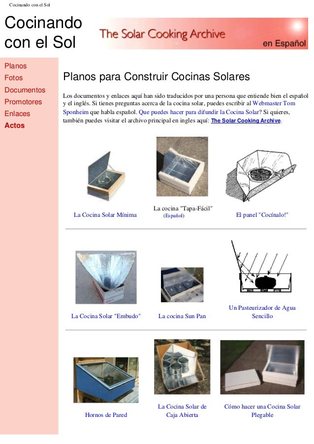 Planos para construir una cocina solar for Planos para fabricar una cocina cohete