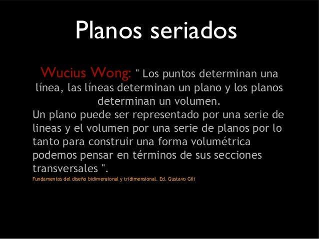 """Planos seriados  Wucius Wong: """" Los puntos determinan una  línea, las líneas determinan un plano y los planos  determinan ..."""
