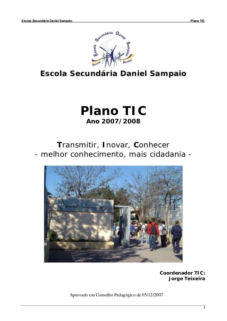 Escola Secundária Daniel Sampaio                                                    Plano TIC           Escola Secundária ...