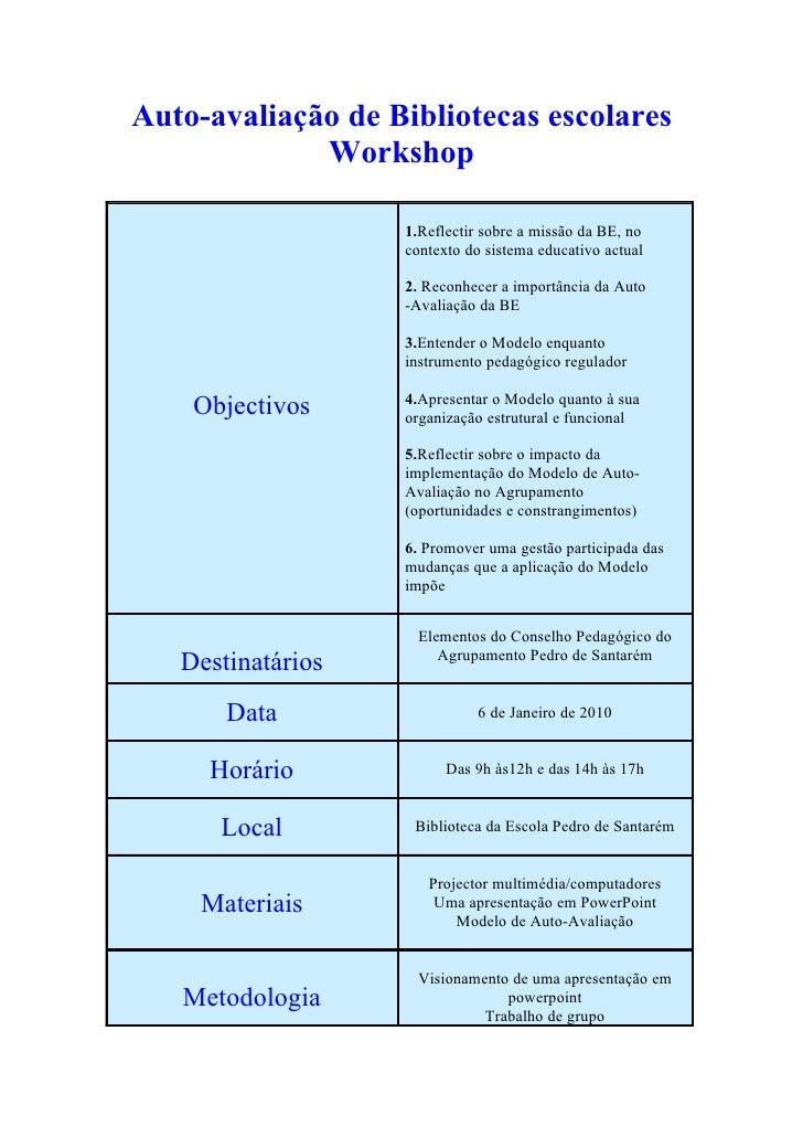 Auto-avaliação de Bibliotecas escolares              Workshop                     1.Reflectir sobre a missão da BE, no    ...