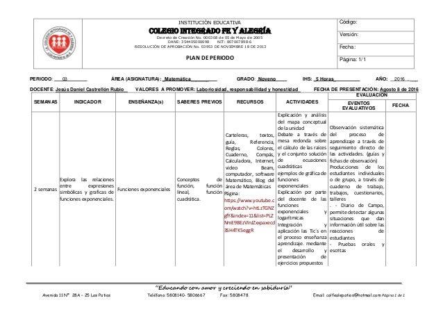 INSTITUCIÓN EDUCATIVA COLEGIO INTEGRADO FE Y ALEGRÍA Decreto de Creación No. 000308 de 05 de Mayo de 2005 DANE: 3544050000...