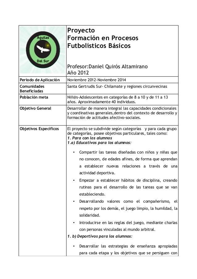 Proyecto                        Formación en Procesos                        Futbolísticos Básicos                        ...