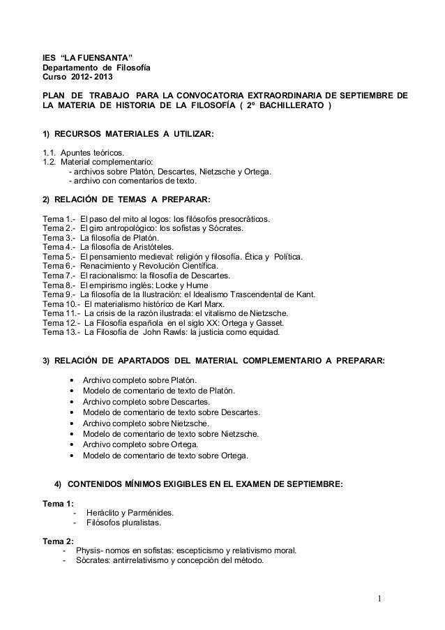 """IES """"LA FUENSANTA""""Departamento de FilosofíaCurso 2012- 2013PLAN DE TRABAJO PARA LA CONVOCATORIA EXTRAORDINARIA DE SEPTIEMB..."""