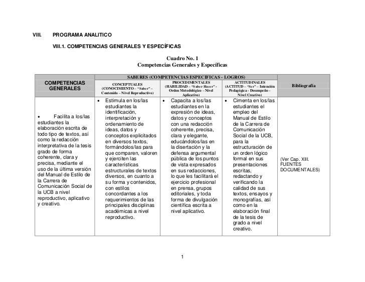 VIII.     PROGRAMA ANALITICO          VIII.1. COMPETENCIAS GENERALES Y ESPECÍFICAS                                        ...