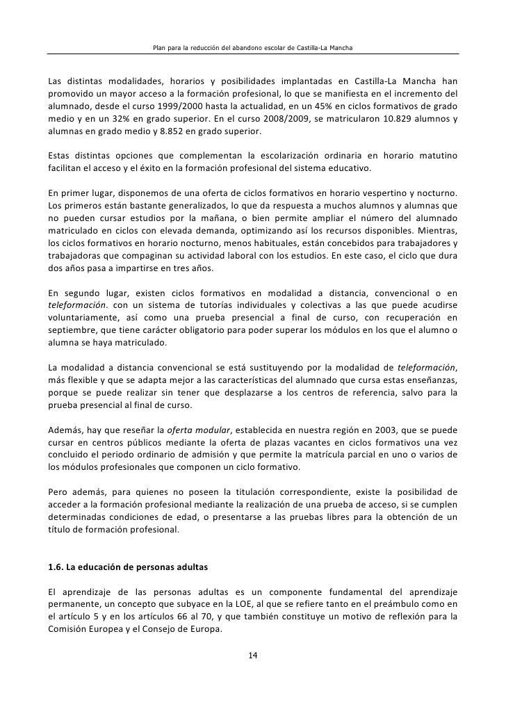 Plan Reducción Del Abandono Escolar En Castilla La Mancha