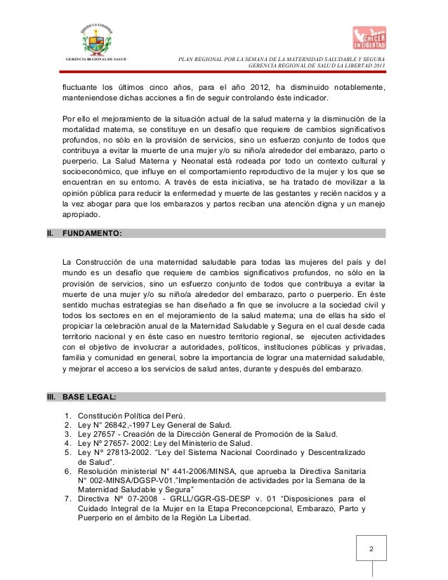 GERENCIA REGIONAL DE SALUD2PLAN REGIONAL POR LA SEMANA DE LA MATERNIDAD SALUDABLE Y SEGURAGERENCIA REGIONAL DE SALUD LA LI...