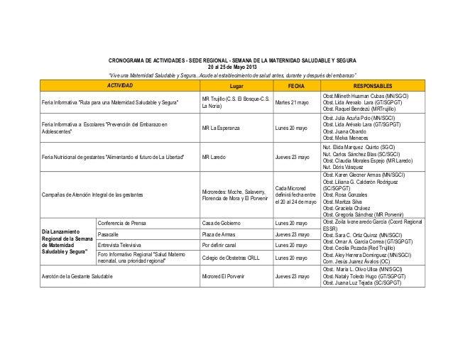 """CRONOGRAMA DE ACTIVIDADES - SEDE REGIONAL - SEMANA DE LA MATERNIDAD SALUDABLE Y SEGURA20 al 25 de Mayo 2013""""Vive una Mater..."""