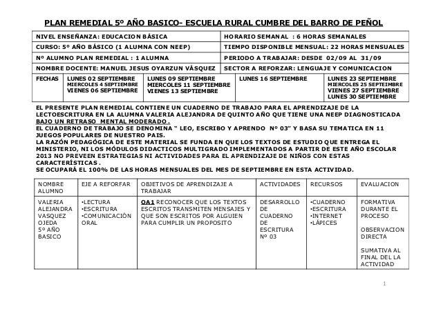PLAN REMEDIAL 5º AÑO BASICO- ESCUELA RURAL CUMBRE DEL BARRO DE PEÑOL NIVEL ENSEÑANZA: EDUCACION BÁSICA HORARIO SEMANAL : 6...